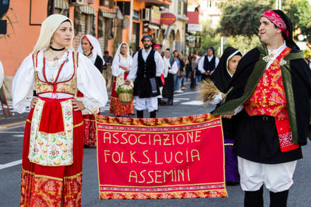 SELARGIUS, ITALY - SEPTEMBER 13, 2015: Ancient Selargino wedding, parade of the folk group Saint Lucia of Assemini - Sardinia Editorial