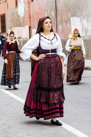 CAGLIARI, ITALY - MAY 1, 2016: 360 Feast of SantEfisio, parade of traditional Sardinian costumes - Sardinia