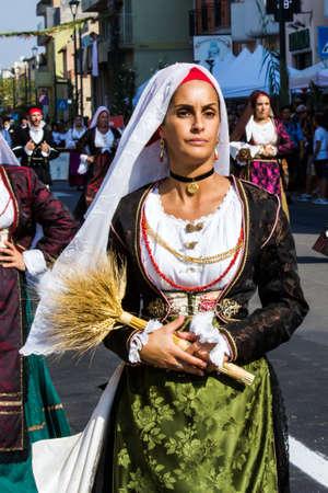 SELARGIUS, ITALY - SEPTEMBER 11, 2016: Old Selargino wedding, parade of traditional Sardinian costumes - Sardinia