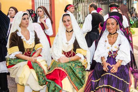 SELARGIUS, ITALY - SEPTEMBER 8, 2013: Old Selargino wedding - Sardinia