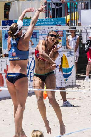 QUARTU SE, ITALY - JUNE 7, 2014: European Beach Volleyball - Womens tournament at the Poetto beach - Sardinia