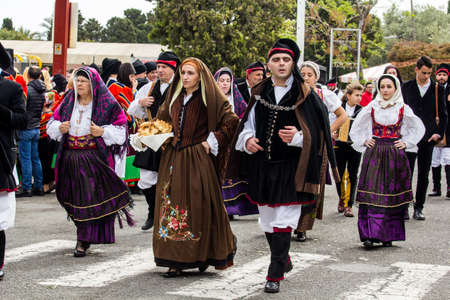 MURAVERA, ITALY - APRIL 2, 2017: 45th Citrus Festival, parade of Sardinian traditional costumes - Sardinia
