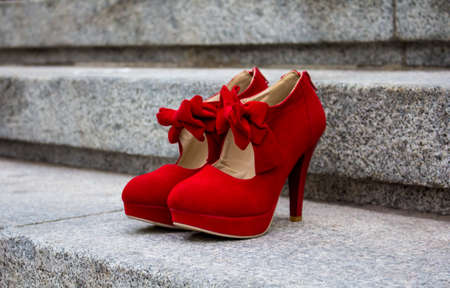 Close up red high heels