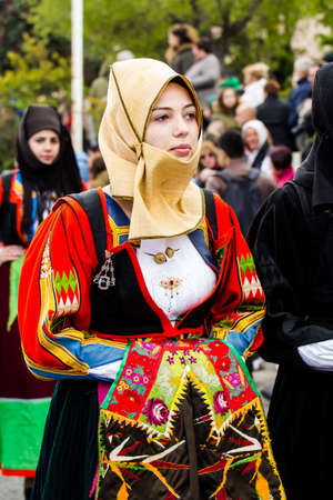 MURAVERA, ITALY - APRIL 2, 2017: 45th Citrus Festival - parade of the folk group of Orgosolo - Sardinia