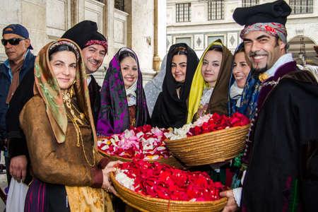 CAGLIARI, ITALY - MAY 1, 2013: 357 Religious Procession of SantEfisio, parade of traditional Sardinian costumes - Sardinia