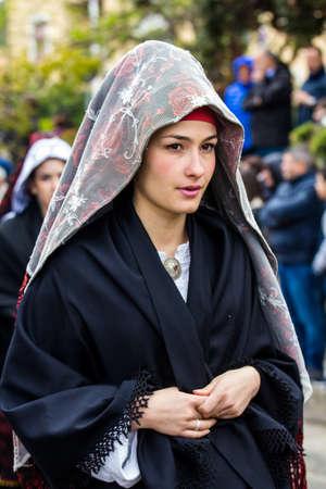 MURAVERA, ITALY - APRIL 2, 2017: 45 Citrus Festival, parade of traditional Sardinian costumes - Sardinia