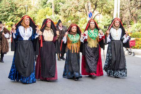 SELARGIUS, ITALY - SEPTEMBER 8, 2013: Old Selargino wedding, parade of the St. Agata di Santadi folk group - Sardinia Editorial