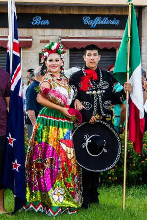 QUARTU SE, ITALY - JULY 18, 2015: 29 Sciampitta - International folklore festival, Sardinia (Fiesta mexicana folk dance in Monterrey, Mexico)