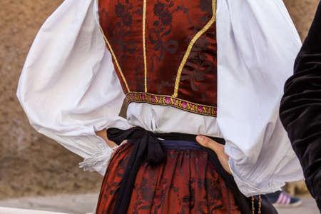 CAGLIARI, ITALY - MAY 1, 2016: 360 Feast of SantEfisio, detail of a traditional Sardinian costume - Sardinia