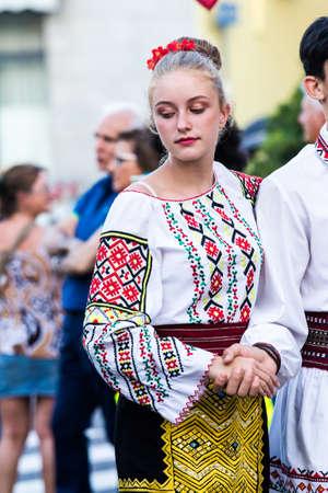 QUARTU SE, ITALY - JULY 15, 2017: 31 Sciampitta - International folklore festival - Sardinia (Folk dance troupe hora-horita Municipal Counsil of Chisinau - Moldova)