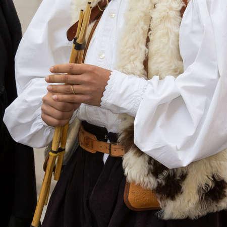 CAGLIARI, ITALY - MAY 1, 2014: 358 Religious Procession of SantEfisio, detail of traditional Sardinian costumes - Sardinia