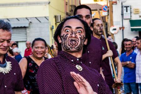 QUARTU SE, ITALY - JULY 18, 2015: 29 Sciampitta - International folklore festival, New Zealand folk group - Sardinia Editorial