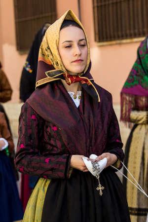 CAGLIARI, ITALY - MAY 1, 2017: 361 Religious Procession of SantEfisio, parade of traditional Sardinian costumes - Sardinia