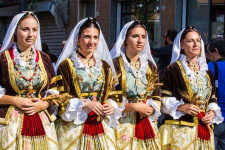 SELARGIUS, ITALY - SEPTEMBER 11, 2016: Ancient Selargino wedding, parade of traditional Sardinian costumes - Sardinia
