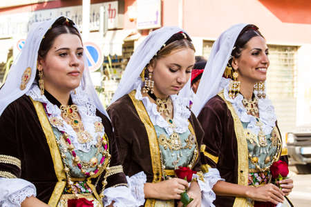 SELARGIUS, ITALY - SEPTEMBER 13, 2015: Ancient Selargino wedding, parade of the folk group Ruggeri di Pirri - Sardinia