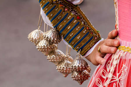 CAGLIARI, ITALY - MAY 1, 2015: 359 Procession Religiosa of Sant'Efisio, detail of traditional Sardinian costumes - Sardinia