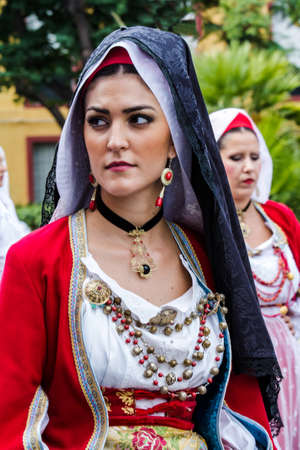 SELARGIUS, ITALY - SEPTEMBER 13, 2015: Ancient Selargino wedding, parade of the folk group of Oristano - Sardinia
