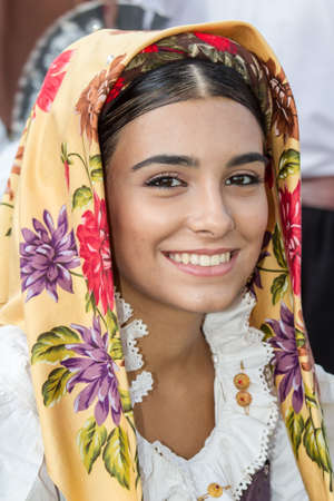 SELARGIUS, ITALY - 2015 SEPTEMBER 13: Ancient Selargino wedding, parade of the seventh saint pietro foolk group - Sardinia Editorial