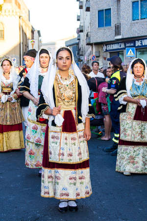 QUARTU SE, ITALY - SEPTEMBER 13, 2017: Procession Religiosa of Sant'Elena-Sardinia