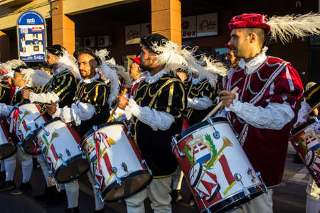 QUARTU SE, ITALY - JULY 15, 2017: 31 Sciampitta - International festival of folklore - Sardinia (Tamburini and trumpeters