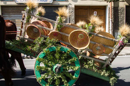 SELARGIUS, ITALY - 2014 SEPTEMBER 14: Selargino ancient marriage, traditional Sardinian wagon - Sardinia
