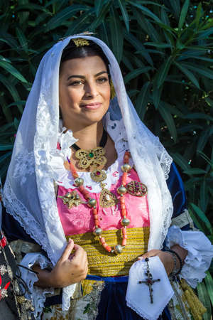 QUARTU SE, ITALY - SEPTEMBER 13, 2017: Religious Procession of Sant'Elena -Sardinia