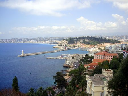 Light house in the port of Nice, France photo