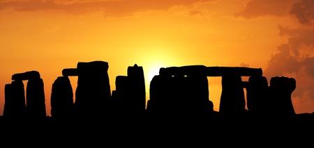Sunset in the Stonehenge 免版税图像