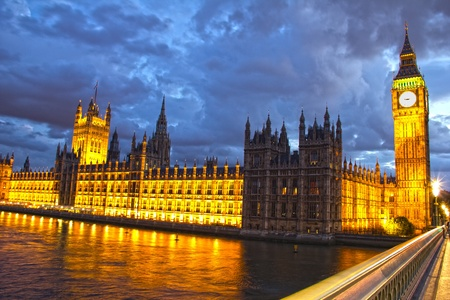 Parliament and Big Ben at night, London, England photo