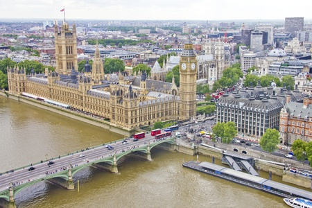 Aerial view of the Big Ben, the Parliament and the Thames river