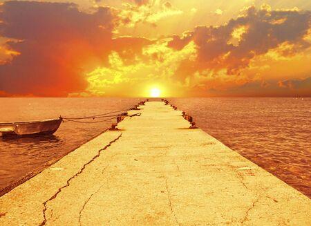 Beautiful sunset over the sea photo