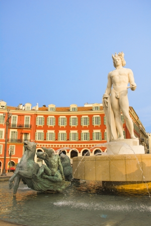 Place Massena in Nice with the Fontaine du Soleil and the Apollo statue Stock Photo - 17776869