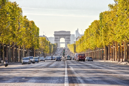 The Champs-Elysees and the Arc de Triomphe Editorial