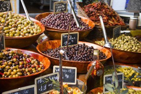 Olives in a street market