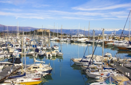 Yachts in the port of Antibes, Cote d Azur photo