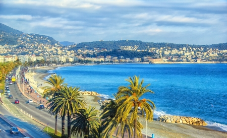 french riviera: Aerial view of Nice, Cote dAzur
