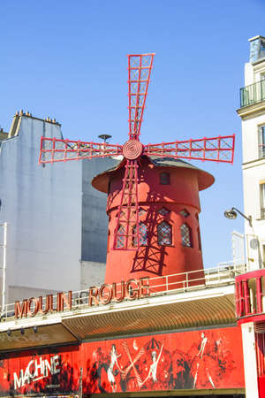 scandalous: PARIS, FRANCE - SEPTEMBER 9  The Moulin Rouge during the day, on September 09, 2012 in Paris, France  Moulin Rouge is the most famous Parisian cabaret and it created the modern can-can dance  Editorial