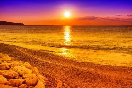 Sunset on the ocean photo