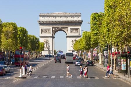 PARIS, FRANCE - SEPTEMBER 9  The Champs-Élysées and the Arc de Triomphe, on September 09, 2012 in Paris, France  The most famous avenue of Paris has 1910m and is full of stores, cafés and restaurants