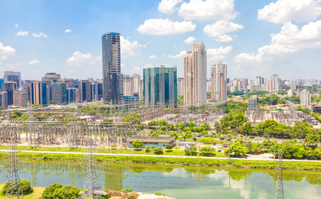 View of Sao Paulo and the river, Brazil Stock Photo