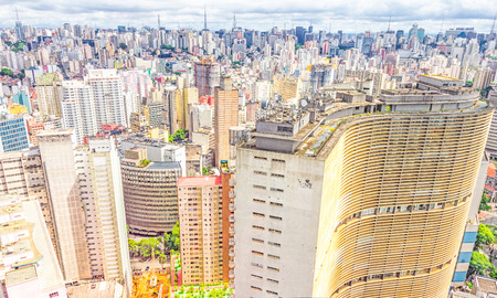 View of Sao Paulo and the famous Copan building  Designed by Oscar Niemeyer, it has the largest residential floor area in the world  Editorial