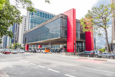 SAO PAULO, BRAZIL- FEBRUARY 20  The Art Museum of Sao Paulo in the Paulista Avenue, on February 20, 2014 in Sao Paulo, Brazil  Known as MASP, the museum is one of the architecture landmarks in Brazil  Editorial
