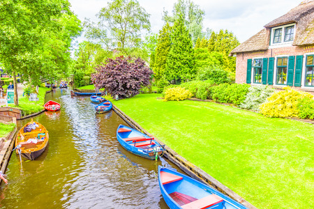 dutch typical: Typical Dutch houses and gardens in Giethoorn, The Netherlands