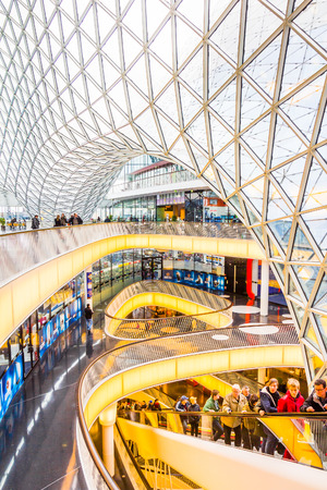 Architectural features of the MyZeil shopping mall in Frankfurt Editorial