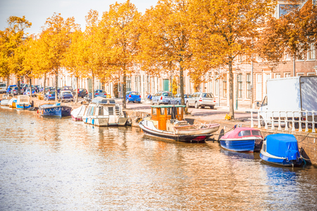 gabled house: Canal in Amsterdam DURING the autumn Stock Photo