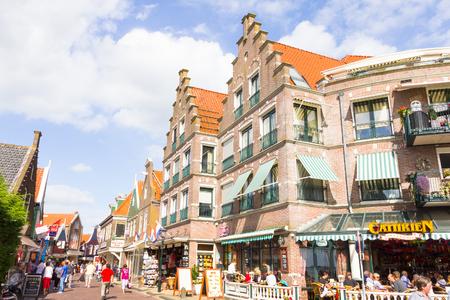 volendam: Tourists walking down the streets of Volendam, The Netherlands Editorial