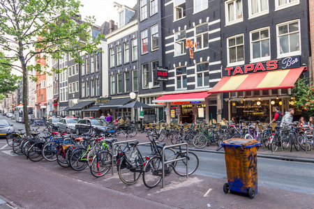 bike parking: Bicycles and coffee shops in the Amsterdam center