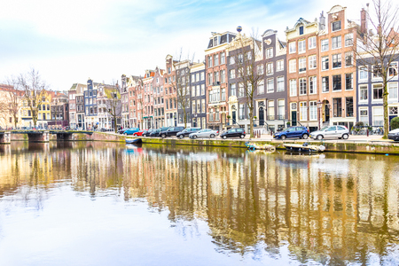 gabled house: Canal in Amsterdam