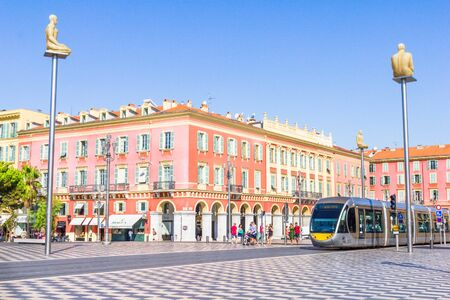 nice france: Tourists walking in the Place Massena, Nice, France