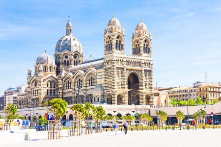 cathedrale: Tourists walking in front of the Cathedrale de la Major in Marseilles Editorial